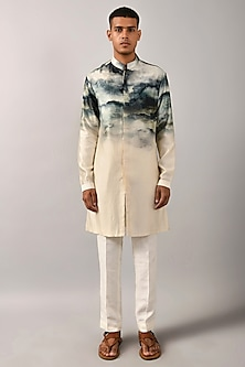 Multi Colored Front Open Printed Kurta by Countrymade