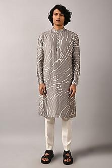 Grey Printed Kurta by Countrymade