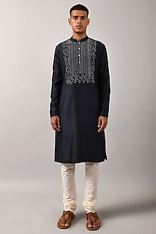 Navy Blue Hand Embroidered Kurta Set by Countrymade