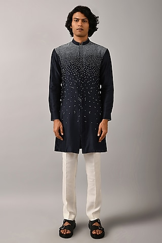 Navy Blue Embroidered Kurta by Countrymade