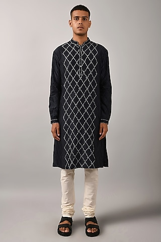 Navy Blue & Ivory Embroidered Kurta by Countrymade