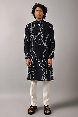 Midnight Blue Printed Bundi Jacket by Countrymade