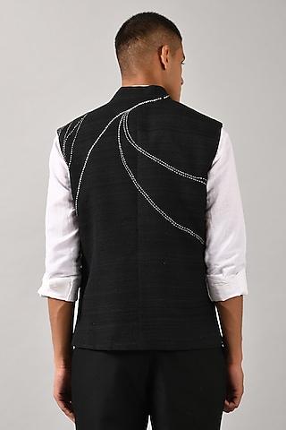 Black Hand Embroidered Bundi Jacket by Countrymade