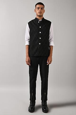 Black Bundi Jacket With Stitch Detailing by Countrymade