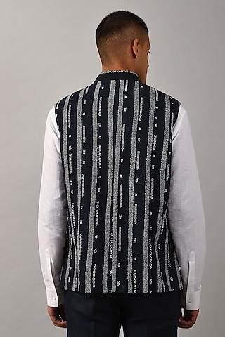 Black Embroidered Bundi Jacket by Countrymade