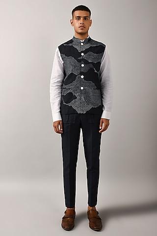 Navy Blue Cotton SIlk Bundi Jacket by Countrymade