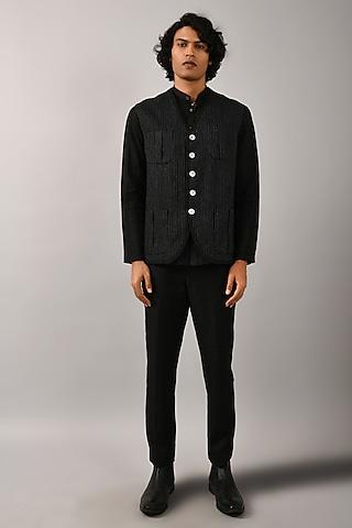 Black Linen Bundi Jacket by Countrymade