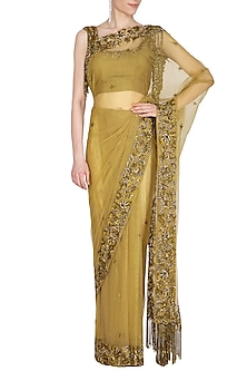 Deep Olive Embroidered Saree Set by Cushy