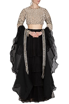Black Embroidered & Ruffled Lehenga Set by Cushy