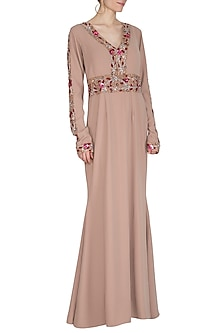 Beige Embroidered A-line Gown by Cushy