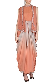 Coral Peach Embroidered Cape With Ombre Dhoti Dress by Cushy