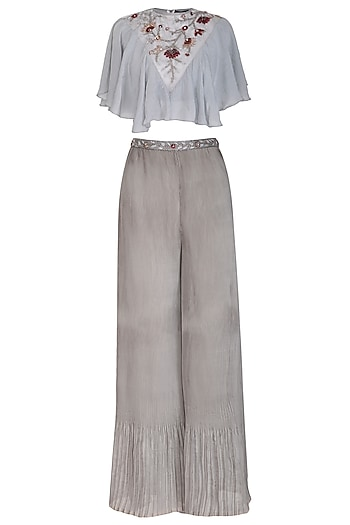 Grey Embroidered Frilled Crop Top With Palazzo Pants by Cushy