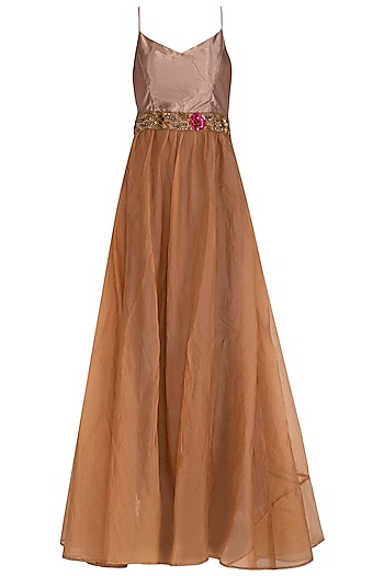 Oatmeal Embroidered Flared Gown by Cushy
