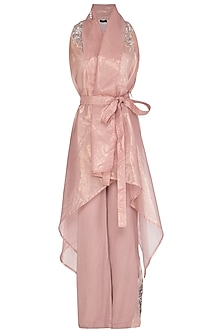 Dead Pink Embroidered Jacket With Camisole Inner & Flared Pants by Cushy