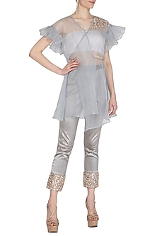 Grey Embroidered Wrap Kurta With Bustier & Cigar Pants by Cushy