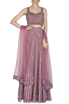 Dead Lavender Embroidered Lehenga Set by Cushy