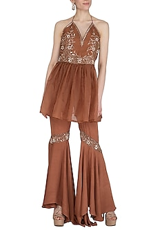 Bronze Embroidered Short Kurta With Flared Pants by Cushy