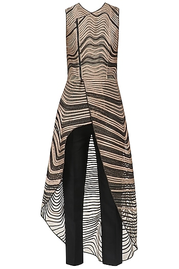 Black and Gold Colorblock Long Top and Pants Set by Rohit Gandhi & Rahul Khanna
