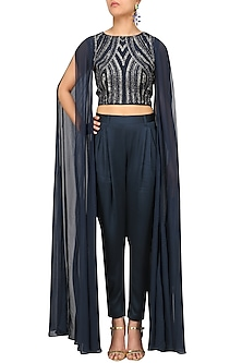 Navy Blue Embroidered Flared Sleeves Top and Trousers Set by Rohit Gandhi & Rahul Khanna