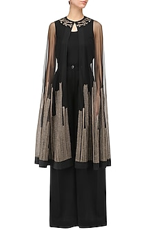 Black and Gold Embroidered Cape, Inner and Pants Set by Rohit Gandhi & Rahul Khanna