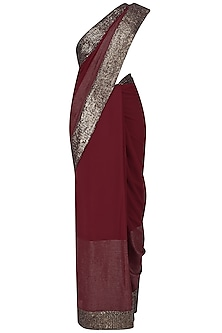 Red Sequins Embroidered Sari with Embroidered Blouse by Rohit Gandhi & Rahul Khanna