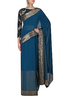 Blue Sequins Embroidered Sari with Embroidered Blouse by Rohit Gandhi & Rahul Khanna