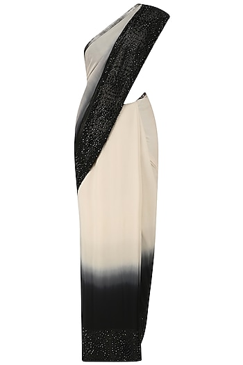 Black and White Ombre Sari with Sleeveless Blouse by Rohit Gandhi & Rahul Khanna