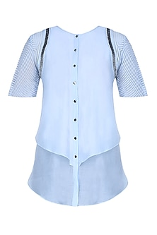 Ice Blue Double Layered Sequins Work Button Down Shirt by Rohit Gandhi and Rahul Khanna