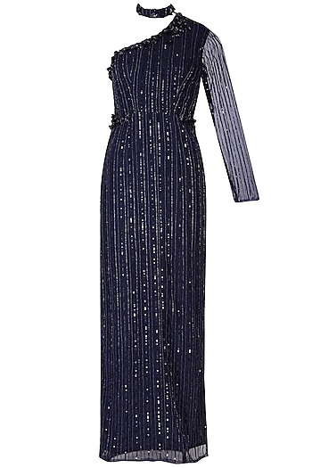 Navy blue embroidered gown by CUSHY