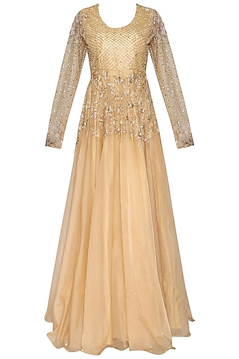 Champagne embroidered gown by CUSHY