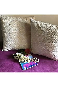 Pristine White Hand Embroidered Cushion Cover by Karmadori