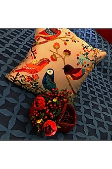 Multicolor Cushion Cover in silk by Karmadori