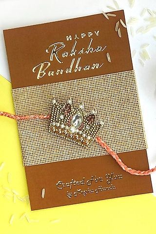 Brown & Gold Pearl Crown Rakhi by  Crafted For You by Megha Handa