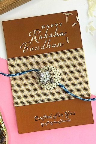 Lavender & Blue Pearl Rakhi by  Crafted For You by Megha Handa