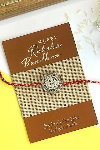 Copper & Ivory Acrylic Flower Rakhi by  Crafted For You by Megha Handa