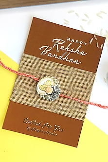 Pure Silver Coin Rakhi With Pearls by  Crafted For You by Megha Handa-SILVER RAKHIS