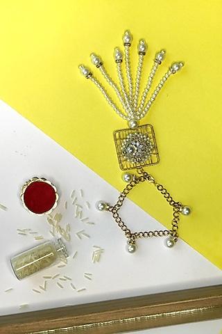 Gold & White Pearl Bhabhi Rakhi by  Crafted For You by Megha Handa