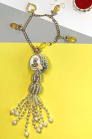 Silver Coin Pearl Bhabhi Rakhi by  Crafted For You by Megha Handa