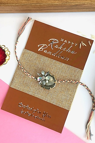 Ash Grey Agate Stone & Rhinestone Rakhi by  Crafted For You by Megha Handa