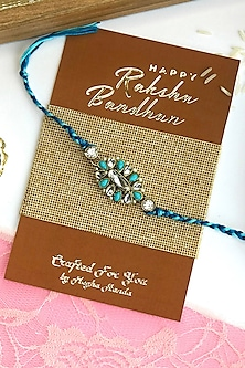 Blue Kundan Polki Rakhi by  Crafted For You by Megha Handa-SEND RAKHIS TO UK