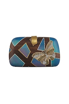 Brown Hand Painted & Embroidered Clutch by Crazy Palette