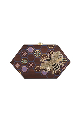 Brown Embroidered & Hand Painted Clutch by Crazy Palette