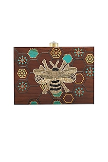 Brown Bumble Bee Embroidered Clutch by Crazy Palette