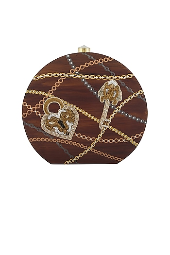 Brown Lock-Key Embroidered Clutch by Crazy Palette