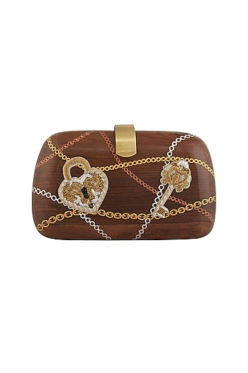 Brown Lock-Key Embroidered & Painted Clutch by Crazy Palette