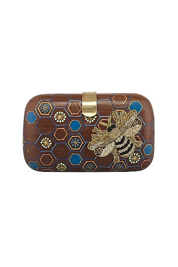 Brown Bumble Bee Embroidered & Painted Clutch by Crazy Palette