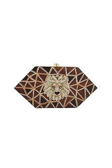 Brown Lion Embroidered & Painted Clutch by Crazy Palette
