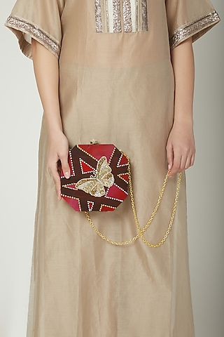 Brown Butterfly Embroidered & Painted Clutch by Crazy Palette