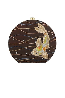Brown Fish Embroidered & Painted Clutch by Crazy Palette