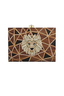 Brown Hand Painted Clutch With Lion Embroidery by Crazy Palette